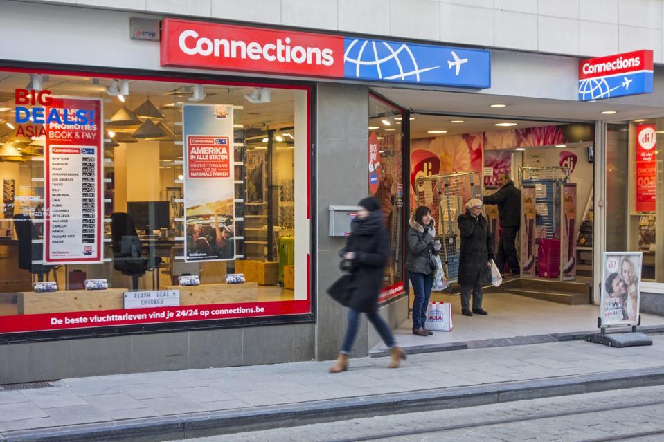 Connections travel shop in Belgium.