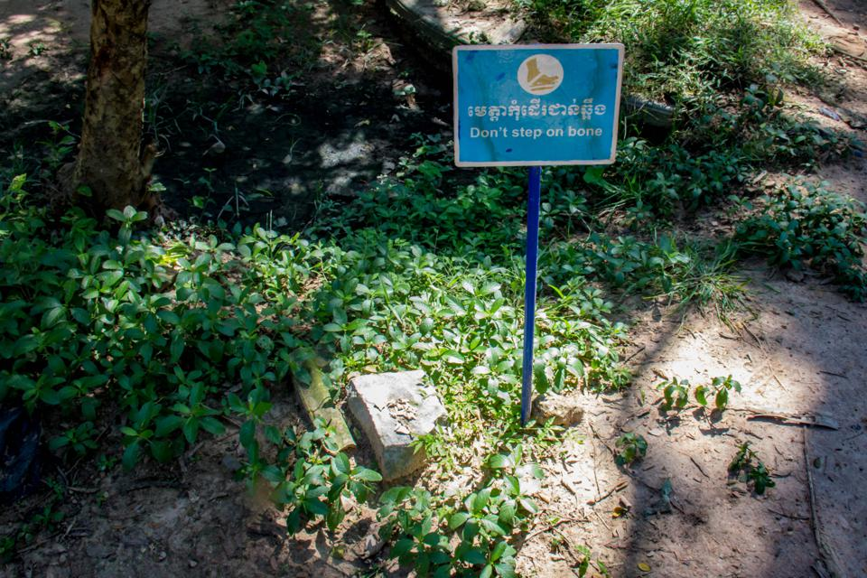 Warning sign at the killing Fields in Phnom Penh, Cambodia