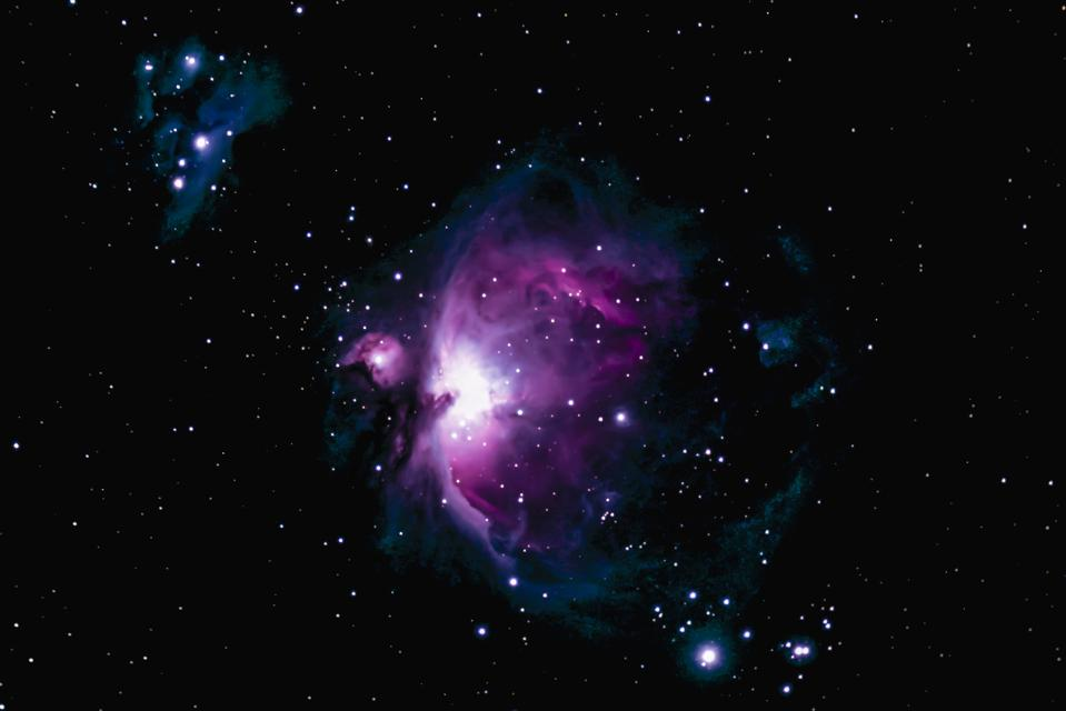 M42, the Orion Nebula is the middle star in Orion's ″sword″ and is visible with the naked eye.