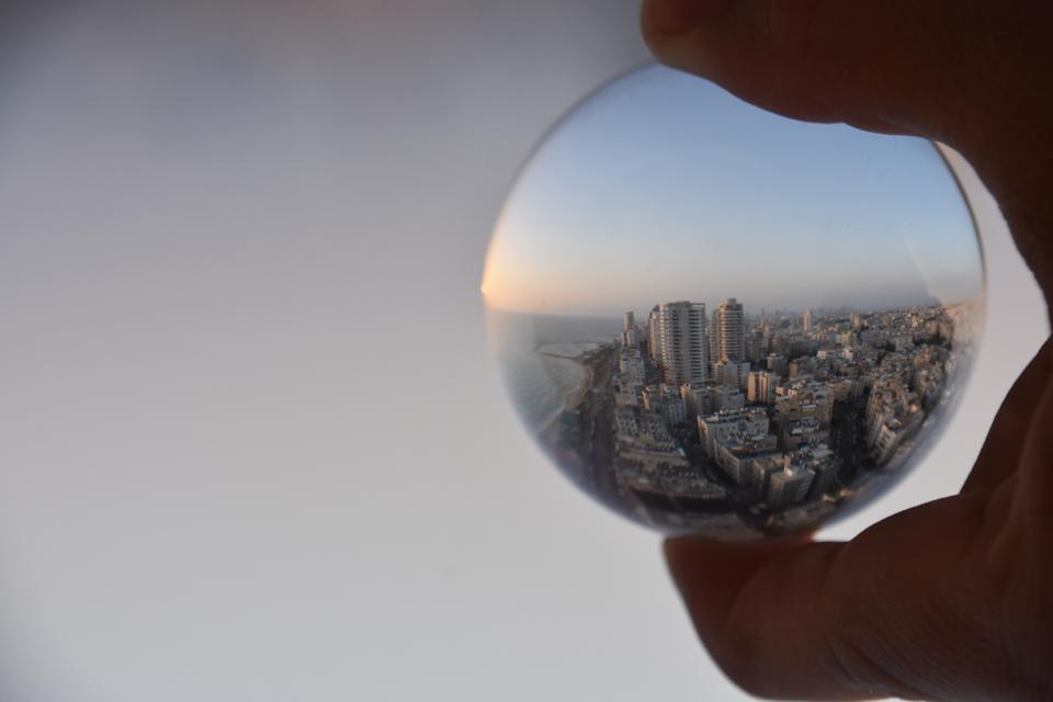 Concept - crystal ball at sunset