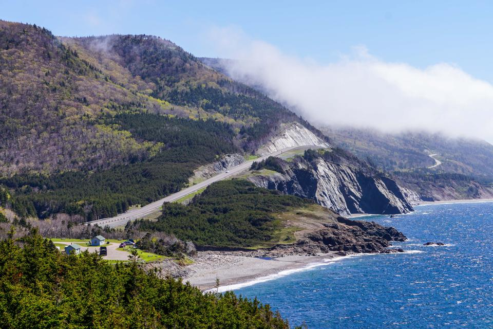 Driving the coastal highway of Cabot Trail.
