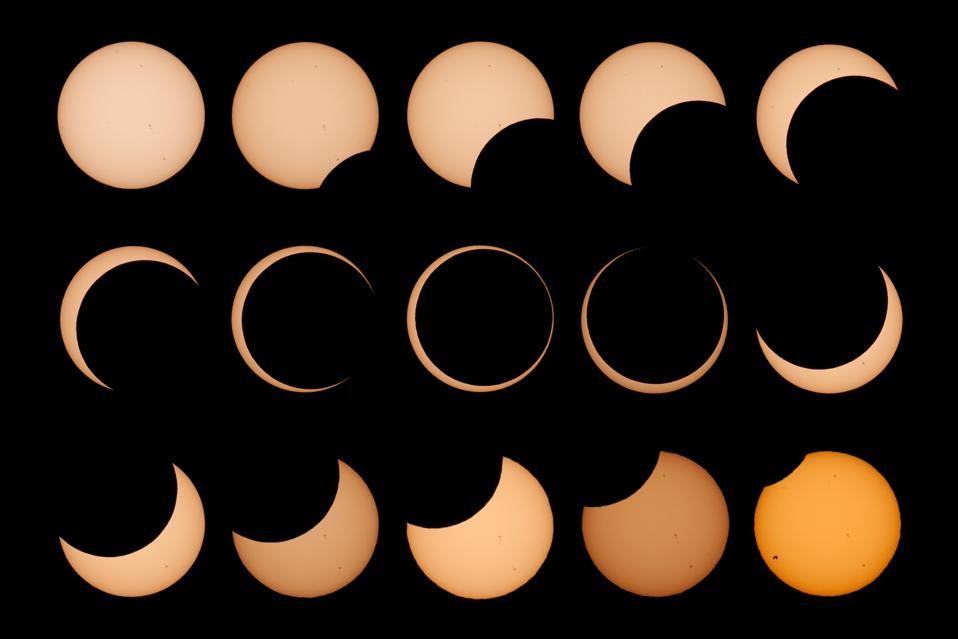 Annular solar eclipse collage