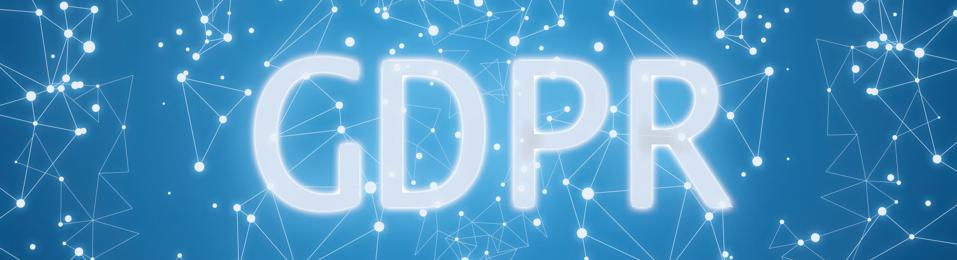 Digital GDPR interface on blue background