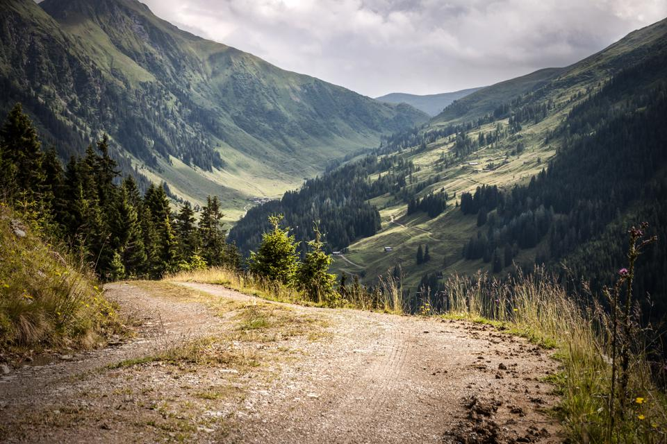 Forested valley under cloudy sky, Brixental, Tirol, Austria