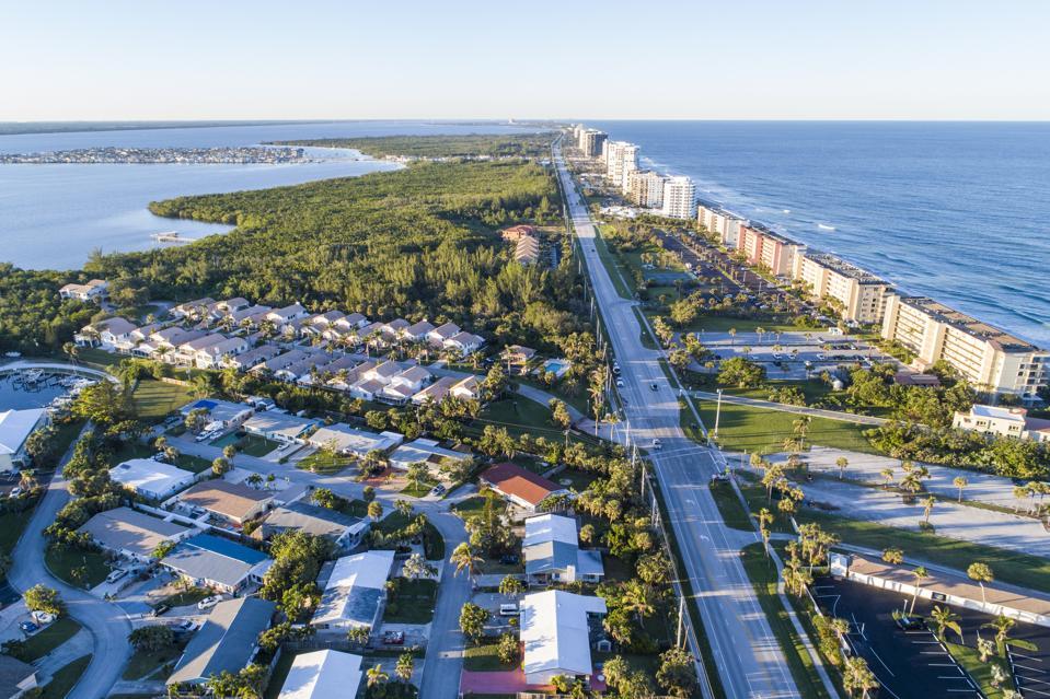 Florida, Hutchinson Island, Jensen Beach, high rise buildings, modular home community, State Road A1A
