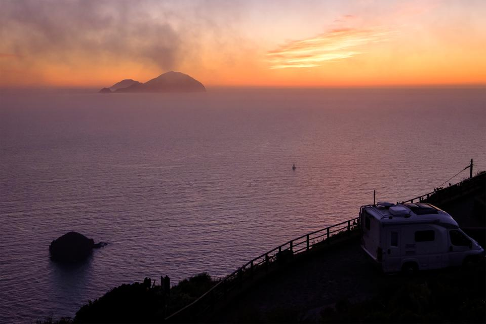 Filicudi and Alicudi at sunset seen from Salina (Aeolian Islands, Sicily, Italy)