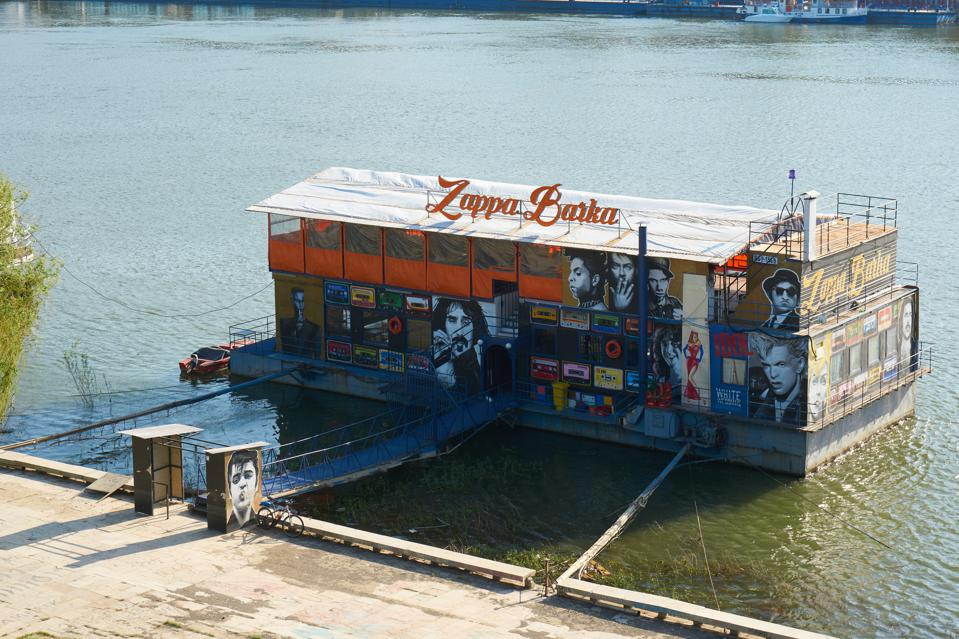 Floating restaurants and clubs on Sava river in Belgrade