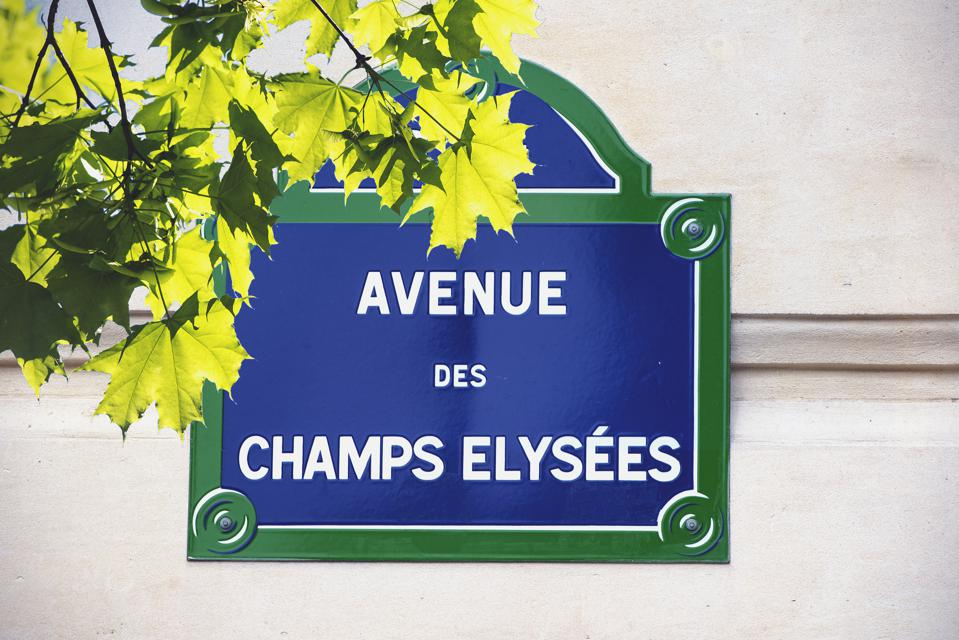 Street Sign Champs Elysees Avenue in Paris, France