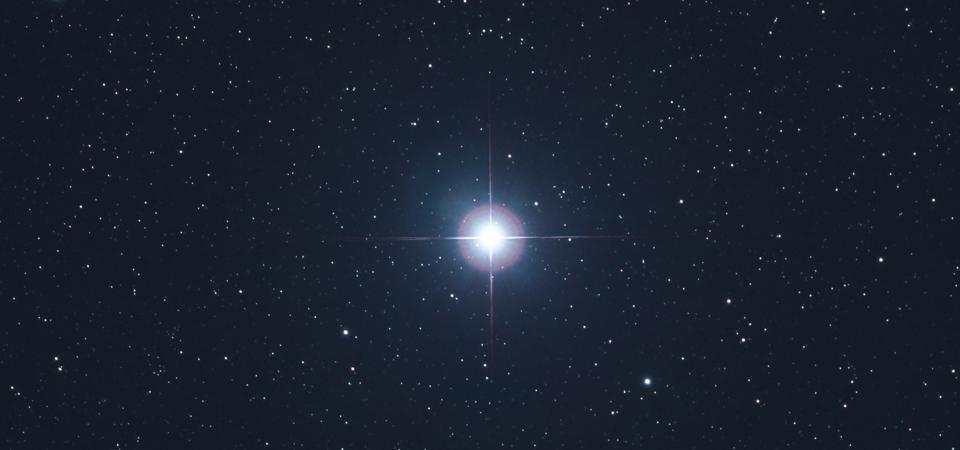 Seine et Marne. Focus on one of the most beautiful stars of heaven: Vega in the constellation Lyra. The blue star is located 25 light years from Earth and is clearly visible, especially in summer.