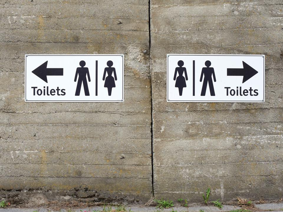 Toilets sign wall