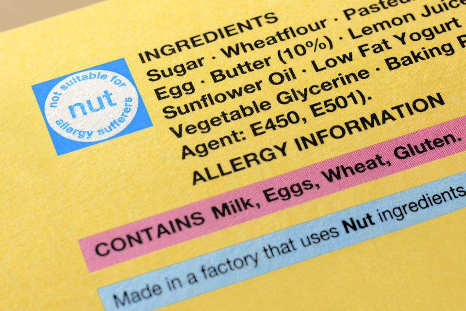 Allergy information on a food label.
