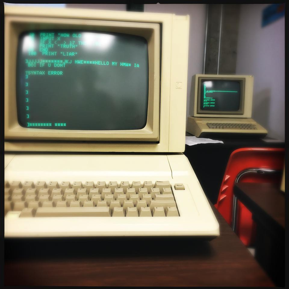 ancient computers in classroom