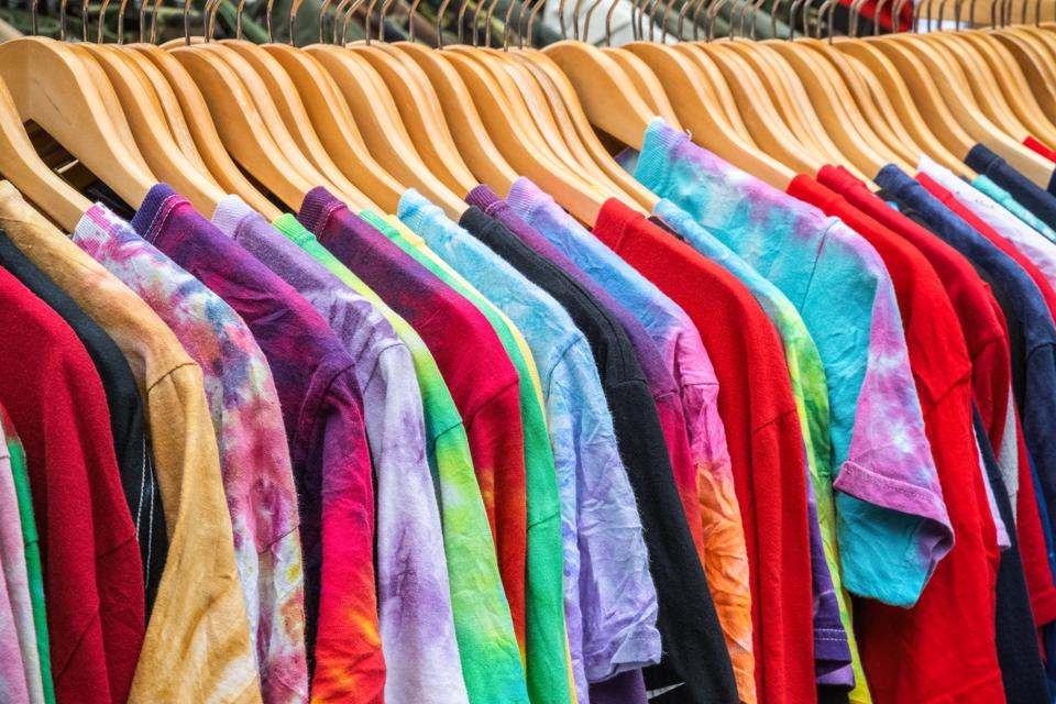 Second-hand T-shirts on display at Broadway market in London