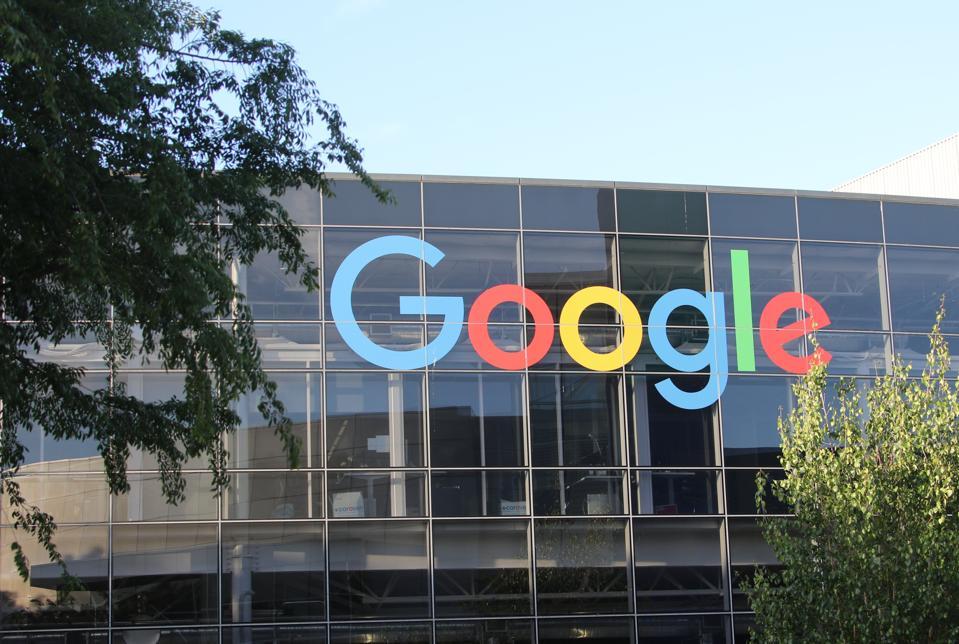Google logo at company's headquarters
