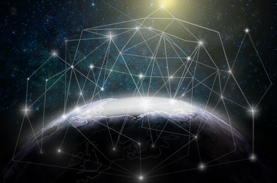 Internet Network concept, Technology Particle Part of earth with network line and point on the star and Milky Way background