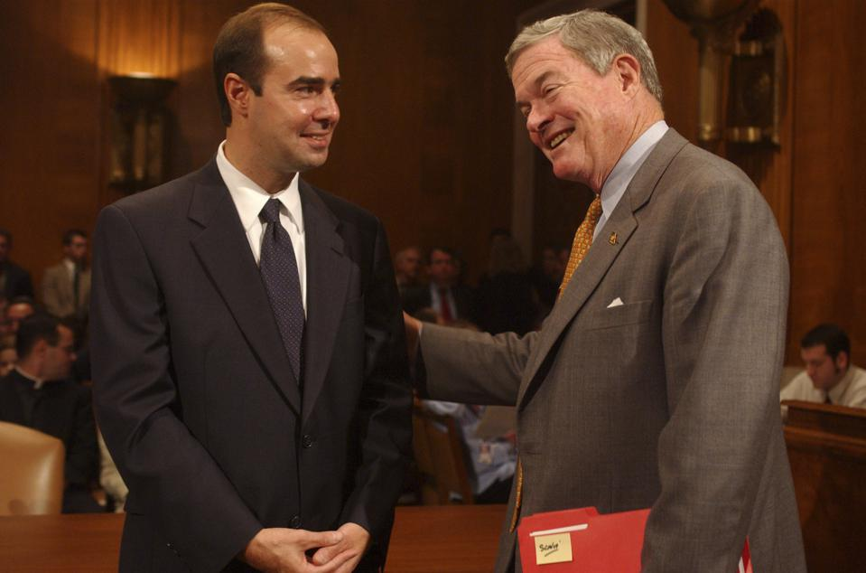 At left, Eugene Scalia, nominee for Solicitor of Labor, gets
