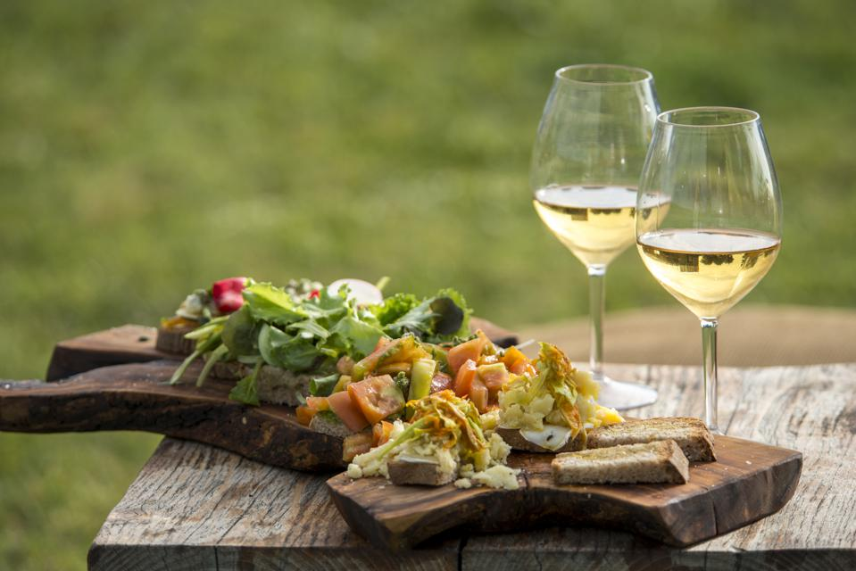 Traditional italian appetizer with white wine