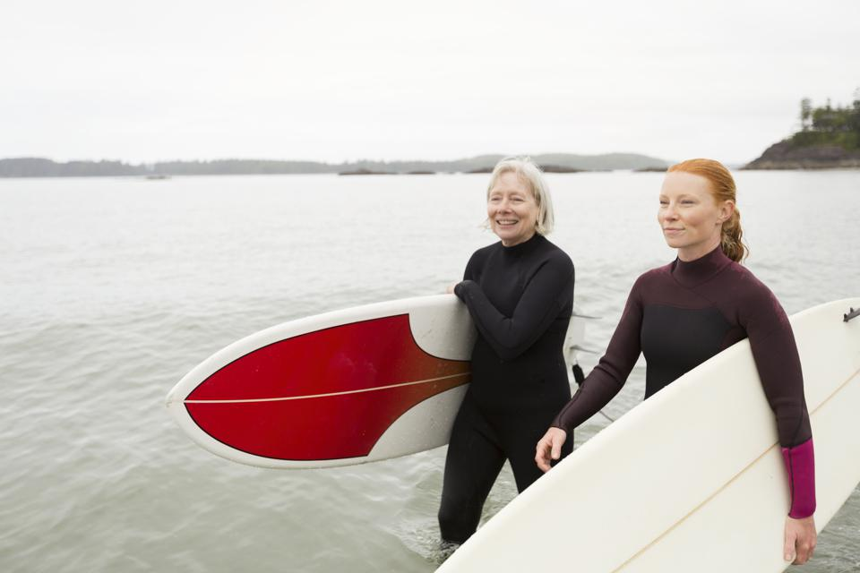Female surfers carrying boards walking along beach