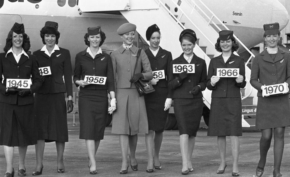 Model Mary O'Callaghan in the New Aer Lingus Uniform 1975