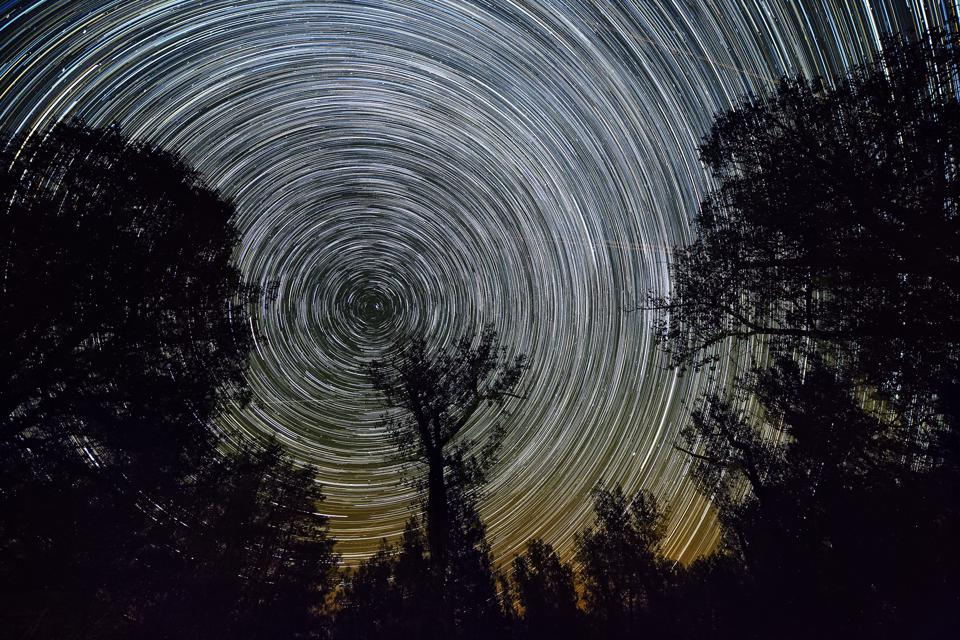 A startrail taken from Theodore Roosevelt National Park in North Dakota, which shows where the North Star is—close to the ″radiant point″ of this weekend's Ursids meteor shower.