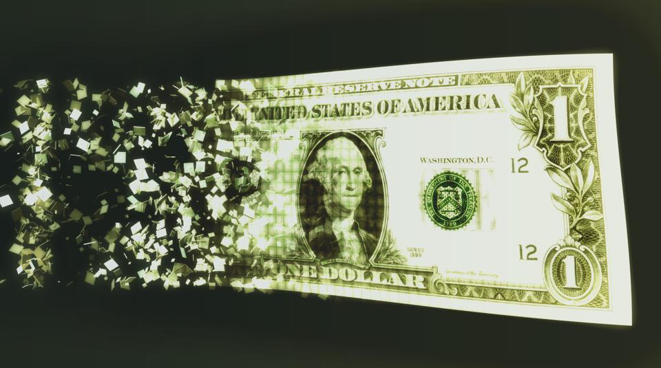 US dollar bill and binary code