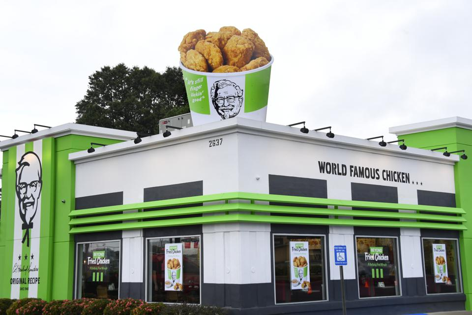 KFC and Beyond Meat launched plant-based chicken at an Atlanta location in August 2019 and announced it would expand the test in January 2020. (John Amis/AP Images for Beyond Meat)