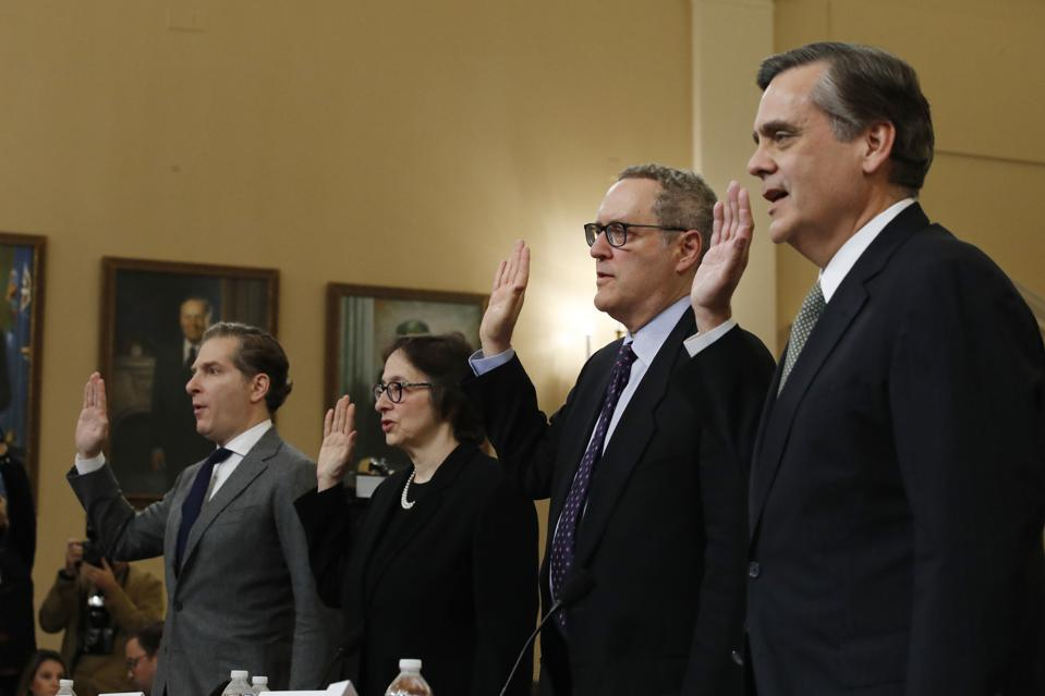 From left, Constitutional law experts Noah Feldman, Pamela Karlan, Michael Gerhardt and Jonathan Turley are sworn in for Wednesday's hearing.