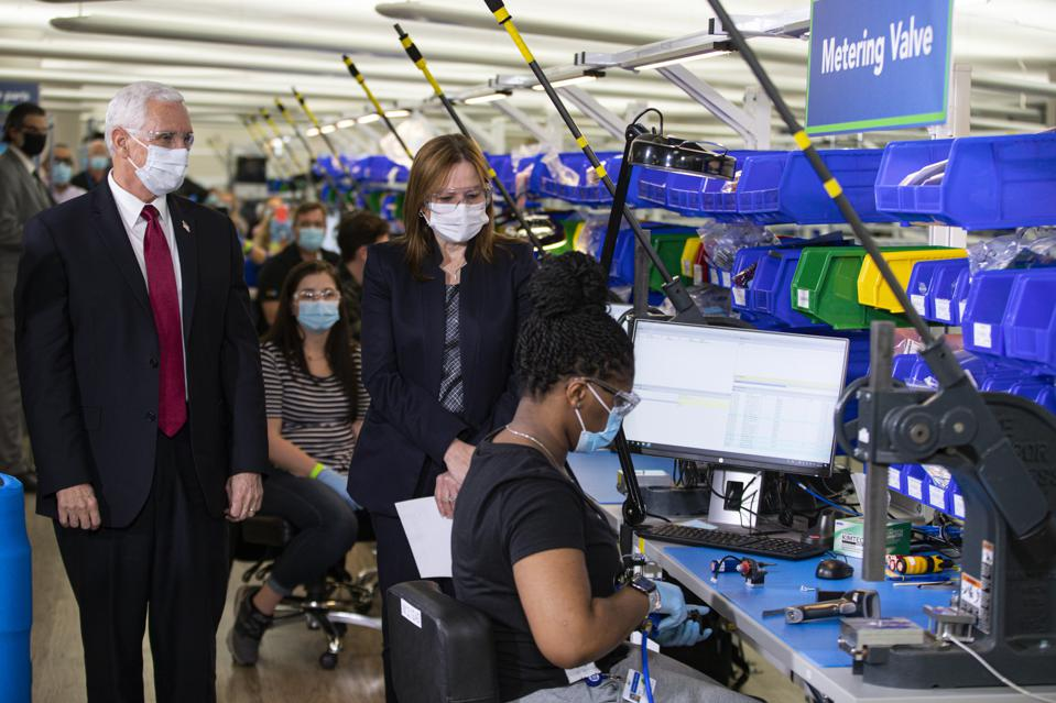 Vice President Mike Pence tours the General Motors/Ventec ventilator production facility
