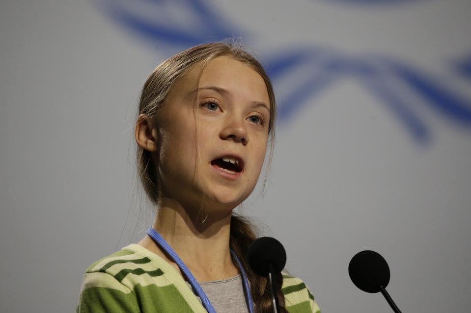 Greta Thunberg addresses leading climate scientists at a UN-sponsored summit in Madrid, Spain, on Wednesday.