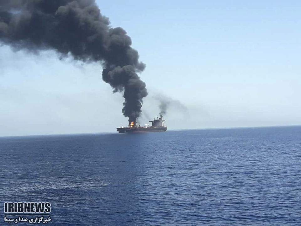 Another image of the burning tanker, by Iran's state-run IRIB News Agency.