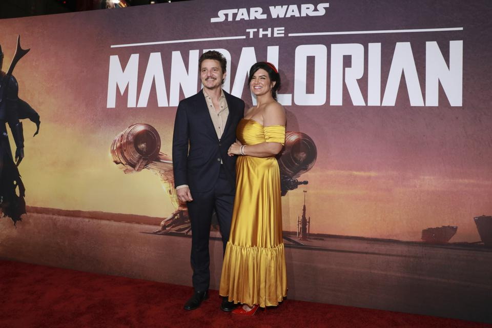 Pedro Pascal and Gina Carano at red carpet for L.A. Premiere of ″The Mandalorian″