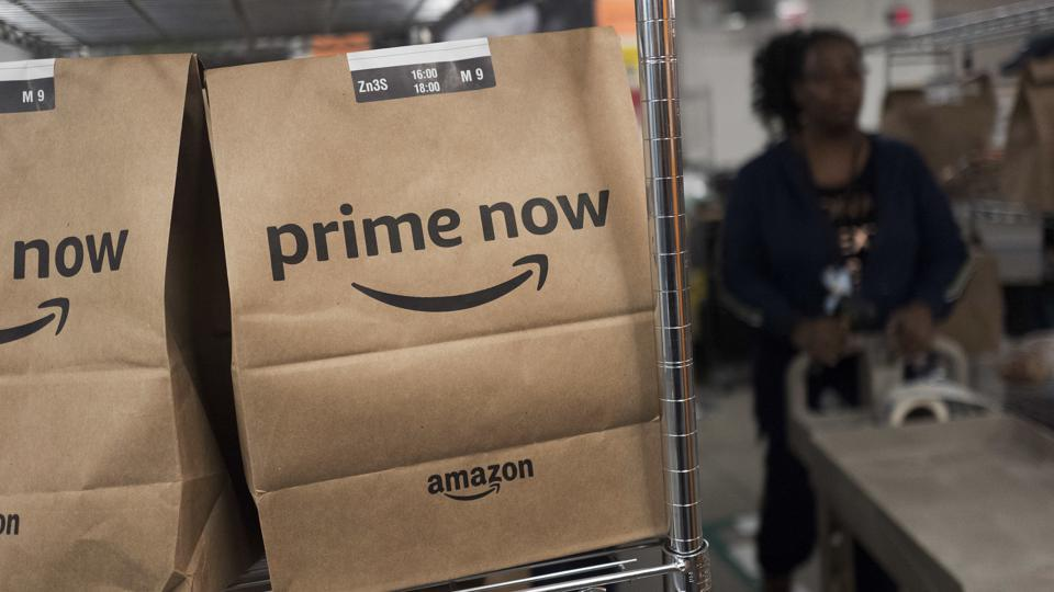 Prime Now customer orders at the Amazon warehouse in New York.