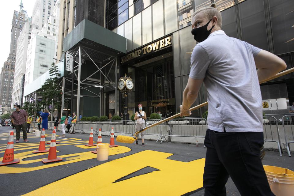 Photos Black Lives Matter Mural In Front Of Trump Tower Becomes
