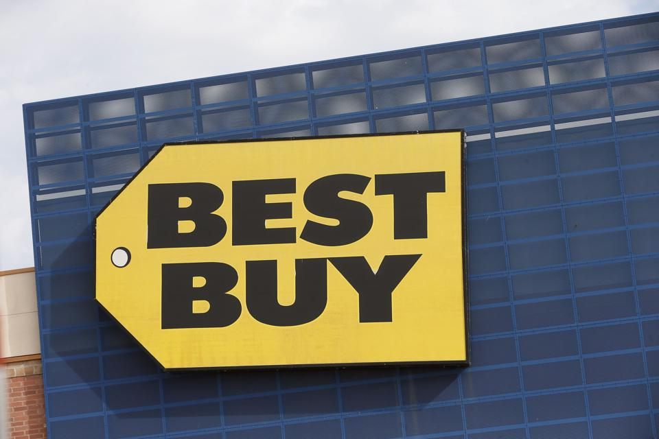 A corner of a Best Buy story, showing the trademark Best Buy logo.