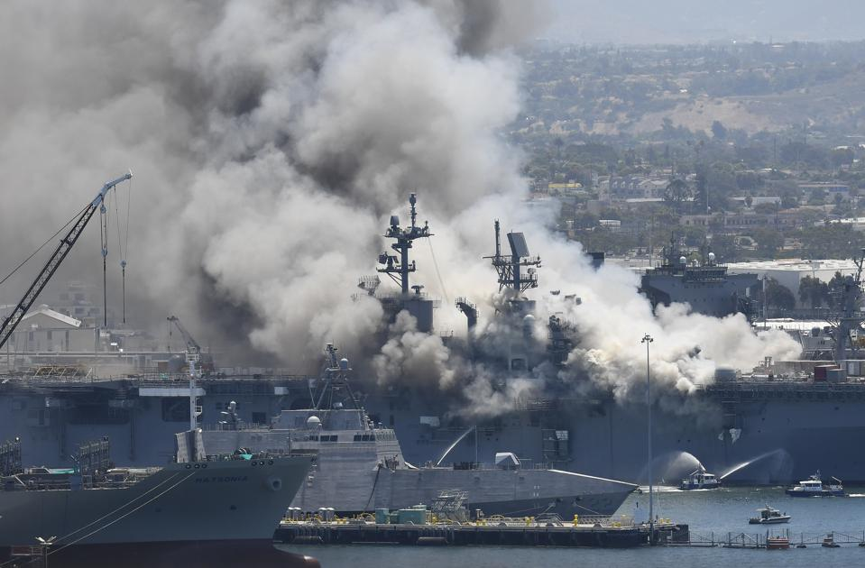 Fire consumes the USS Bonhomme Richard.