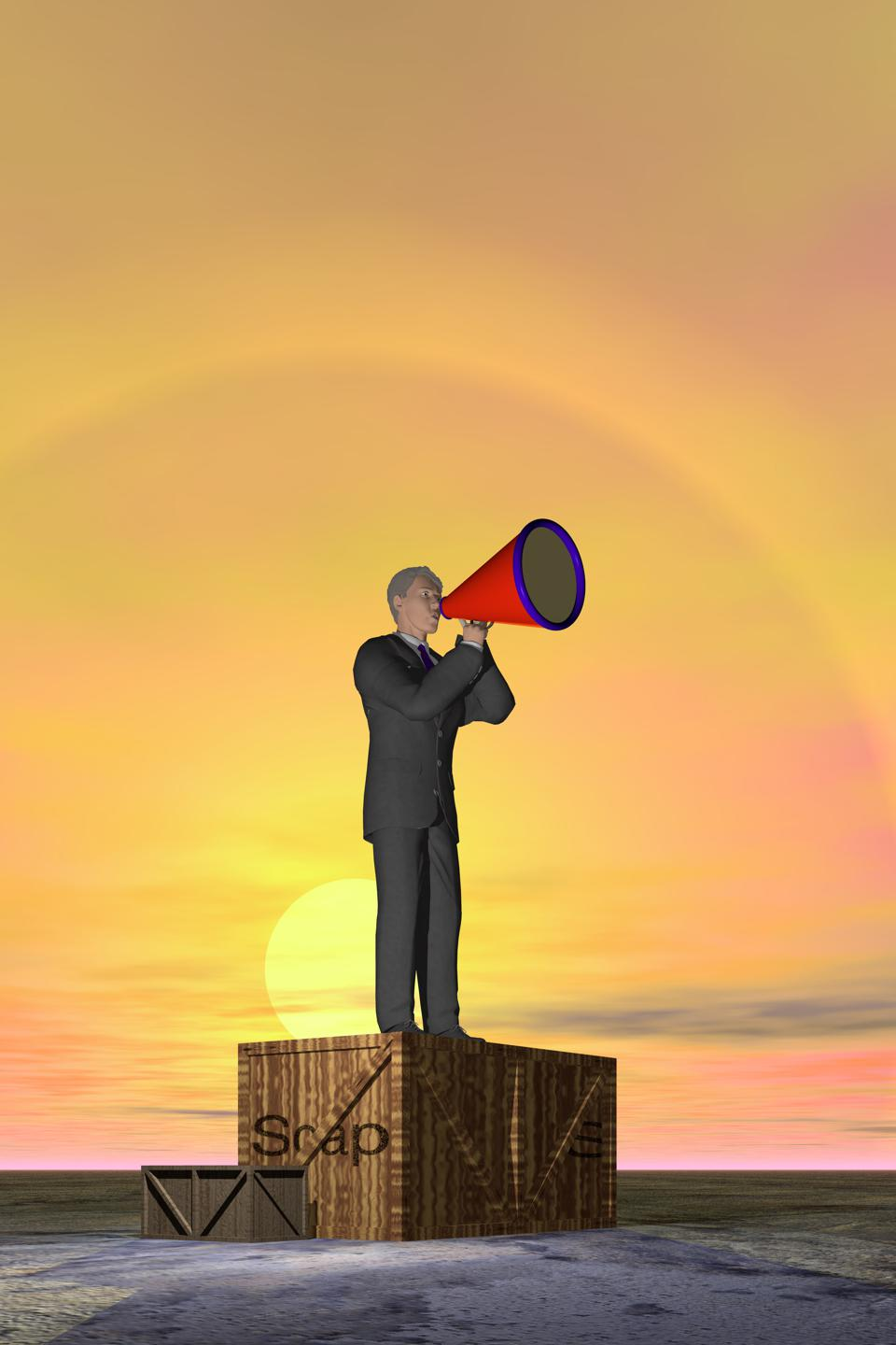 a business man shouts through a megaphone while standing on a soap box